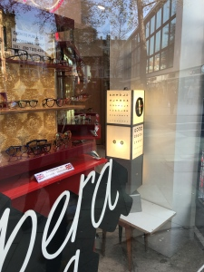Opera Opera opticians, London - window display, January 2016.