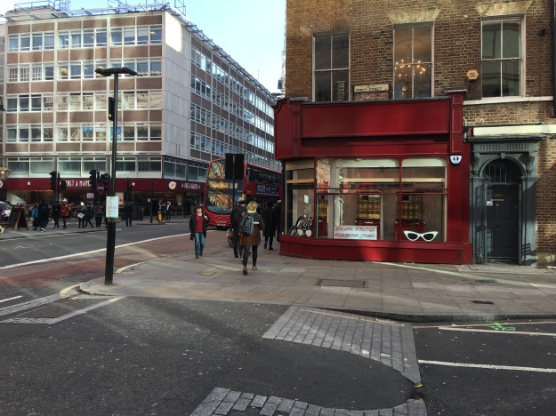 Opera Opera opticians - their new premises from the start of 2016 - on the corner of Tottenhamd Court Road and Percy Street (near Russell Square Tube station and Goodge Street Tube station).