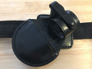PWL RCP-7 B/14 right-handed leather handcuff holster. Made in England. Front view. Photograph by author.
