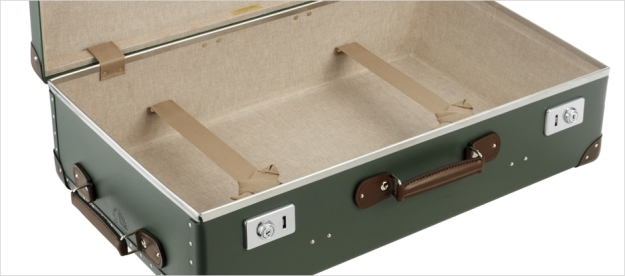 A Globe-Trotter Original Green / Tan suitcase. Made in England.