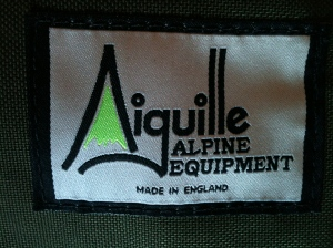 Aiguille Alpine Equipment Made in England Label (on a Runout Rucksack), 31.8.13. Photo by author