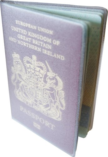 KLAYZER plastic see-though passport cover. Made in Britain