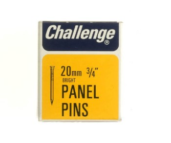 Challenge 20mm Bright Steel Panel Pins - 1 x 50g. Made in England.