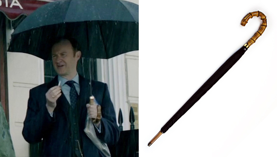 Mark Gatiss as Mycroft Holmes in Sherlock, A Scandal in Belgravia,BBC 2012, using a Fox Whanghee Handle Umbrella, photo from http://www.sherlockology.com/props/mycrofts-umbrella-s2