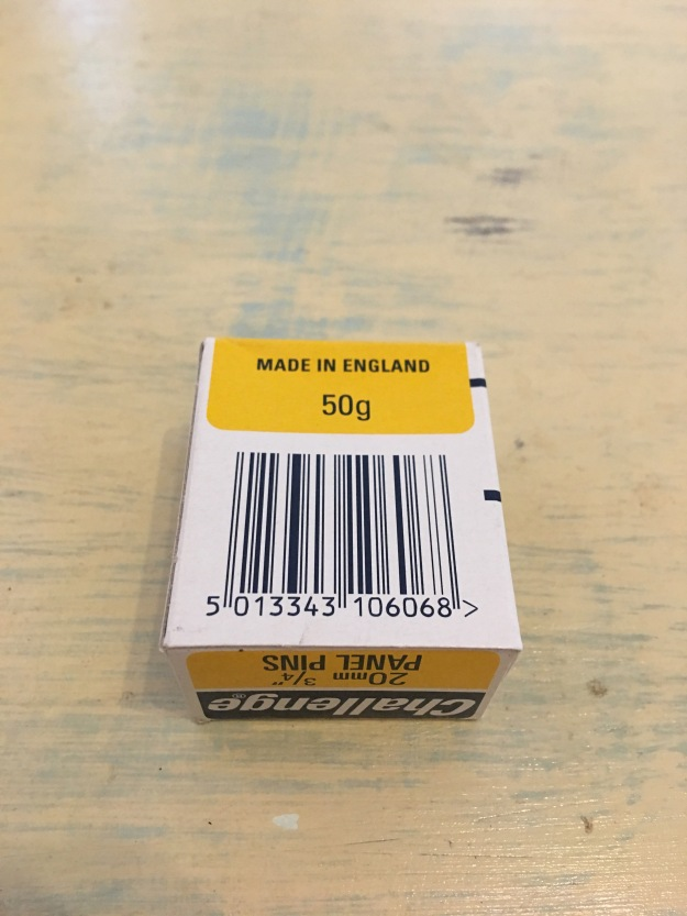 "Challenge 20mm (3/4"") Bright Steel Panel Pins - 1 x 50g. Made in England. Photograph by author. Rear label and bar code view. 22/1/17"