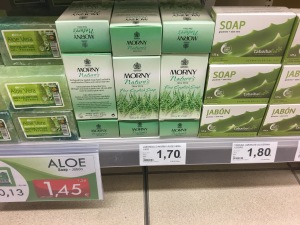 Morny Aloe soap on display in HiperDino Express Dinosol Supermarket, Oliva Beach, Fuertaventura. Photograph by author. This soap is made in England.