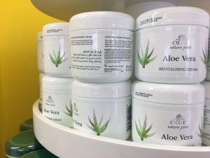 Richards and Appleby Ltd Cyclax Aloe Vera Revitalising Cream on display in HiperDino Express Dinosol Supermarket, Oliva Beach, Fuertaventura. Made in the UK. Photograph by author.
