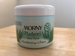 Morny Aloe Vera Moisturising Cream. Made in England. Photograph by author. Front view.