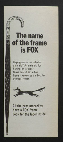 VINTAGE 1970s ADVERT Fox Umbrellas.  1/8 Page Advert.  On ebay 25/8/13.  Possibly cut out from a magazine or newspaper.