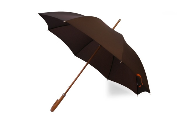 London Undercover Dark Brown City Gent Defence Umbrella with Malacca Wood handle and Beech Wood shaft. Made in London, England.