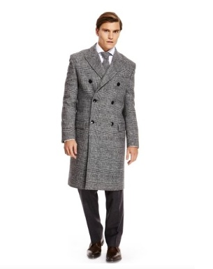 M & S Best of British Pure Wool Double Breasted Prince of Wales Checked Coat Product Code- T751207, made in Britain