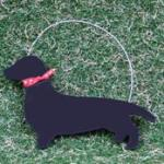 Deck the Halls sausage dog DTH 1132 Ht: 7 cm.  Handmade in Britain
