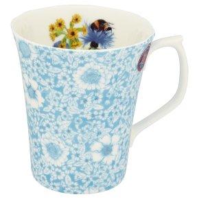 Waitrose Duchy Originals garden floral blue mug.  Bone china.  Made in England.  Dishwasher and microwave safe.