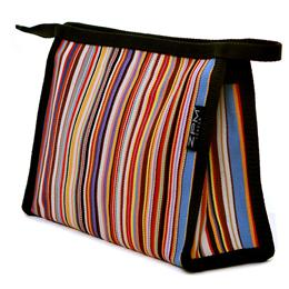ZPM Tom Stripe medium sized washbag, that comes with two interior pockets and a zip top, uncoated woven cotton exterior with a polypropylene trim and black, wipeable interior. Dimensions(cm): 25w x 17h x 8.5d . Made in Britain.