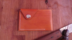 Raw Leather Hand Stitched Wallet or Card Case (Saddle Tan). Made in England.