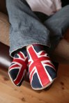 Triggerfish Union Jack - navy / red slippers. Made in England.