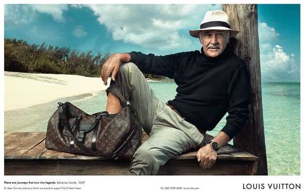'There are journeys that turn into legends. Bahamas islands. 10:07'. Sean Connery for Louis Vuitton in the Bahamas, 2008, wearing a pamama hat.