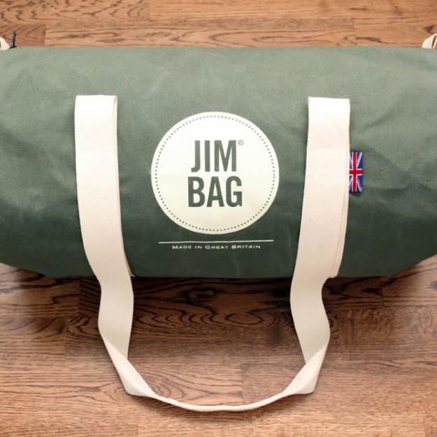 Jim Bag olive barrel bag. Made in Great Britain.