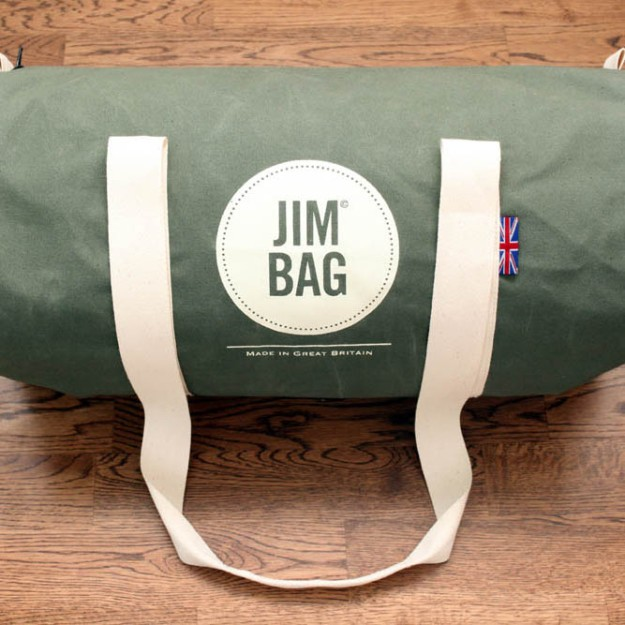 Jim Bag olive barrel bag. Made in Great Britain.