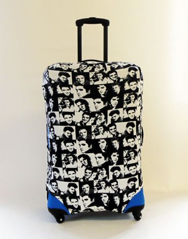 Elvis black and white chequered Caseskinz suitcase cover.