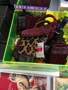 Moquette technology cases in the London Transport Museum shop, 20th January 2016. Made in Shropshire, England.