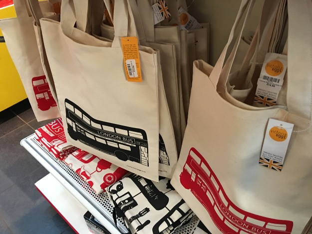 London Bus tote bags by Victoria Eggs in the London Transport Museum Shop. Handmade in Britain.