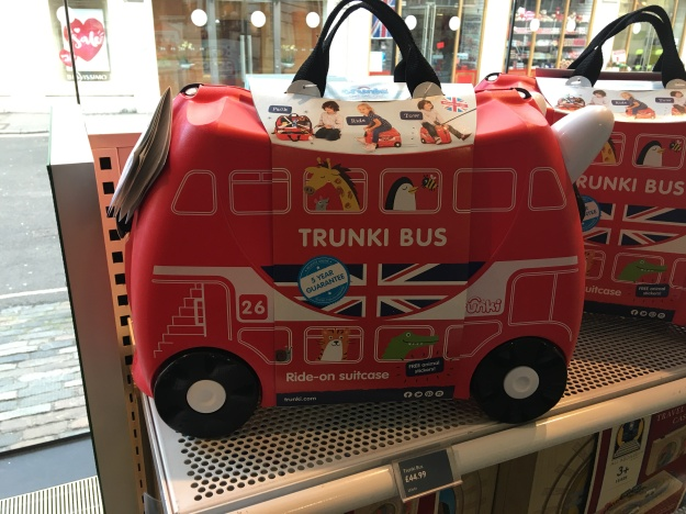 Trunki Bus ride-on suitcase. Made in UK. On sale at the London Transport Museum shop 20th January 2016.