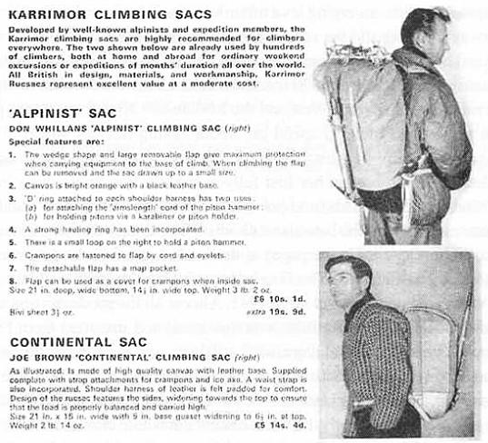 Karrimor rucksack advert circa 1960s.