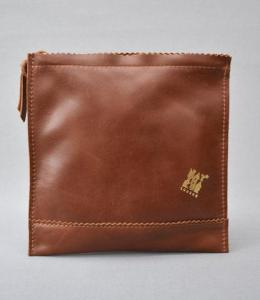 Natthakur LEATHER SWEETSHOP CLUTCH BAG IN BROWN. Made in England.