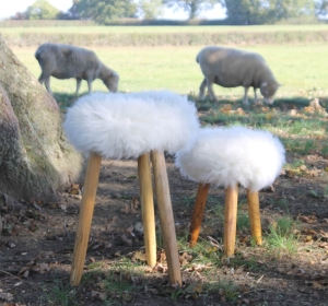 English Cowhide Company Three Legged Sheepskin Milking Stool. Totally made in England.