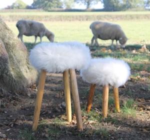 English Cowhide Company Three Legged Sheepskin Milking Stool. Totally made in England.