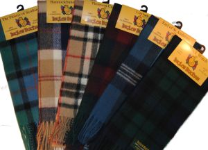 100% LAMBSWOOL TARTAN SCARF BY INGLES BUCHAN MADE IN SCOTLAND