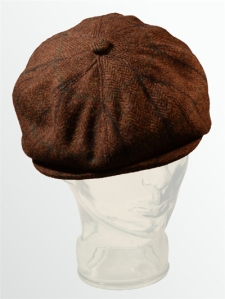 Cock and Bull 8 piece rambler tweed flat cap in chocolate. Made in the UK.
