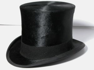 Top hat by Henry Heath Ltd. belonging to the National Trust and on display in the National Trust Carriage Museum. Undated. From internet 26.8.13