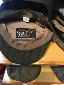 Made in the UK Glen Appin caps on display in the Edinburgh Wollen Mill shop in Cambridge 29 Oct 2016. Photograph by author (1)