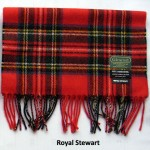 Glencroft 100% pure new wool tartan Royal Stewart scarf. British Made.