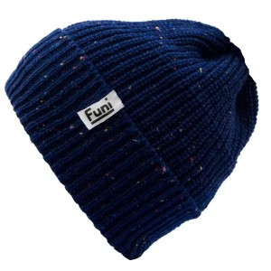 The Forbes Rustic Navy beanie by Funi. 50% Merino 50% Acrylic. Hand knitted in the UK.