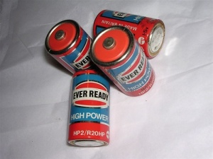 Vintage Eveready batteries. Made in Britain