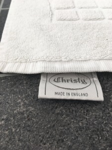 A vintage Christy Made in England floor towel (label detail). Sadly Christy have now moved all production abroad. Photograph by author.