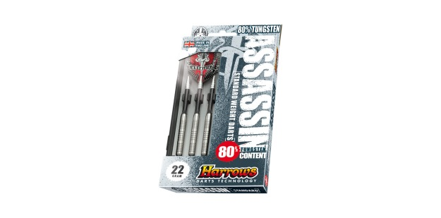 Harrows Assassin 80-18gr-steeltip_pack darts. Made in England.