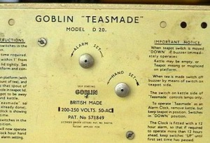 A 1939 Goblin Teasmade D20 (rear view showing instructions). Made in England