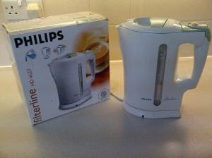 Philips Filterline HD 4617 jug kettle. Kettle made in England; seperate base made in China. Purchased in January 2005.