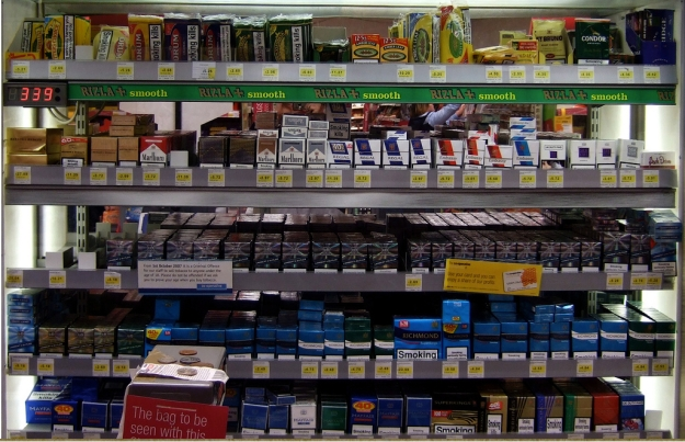 Cigarette counter, Co-Op, Berry Lane, Longridge, Lancashire; December 2008