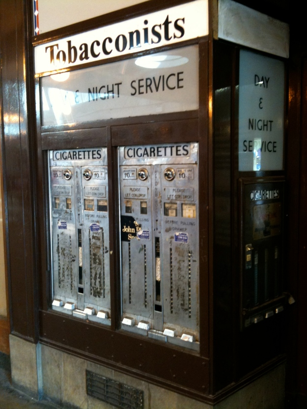 An old cigarette machine in Uxbridge (photograph by author July 2010), at the underground station. 10p a pack! I wonder how old this is?
