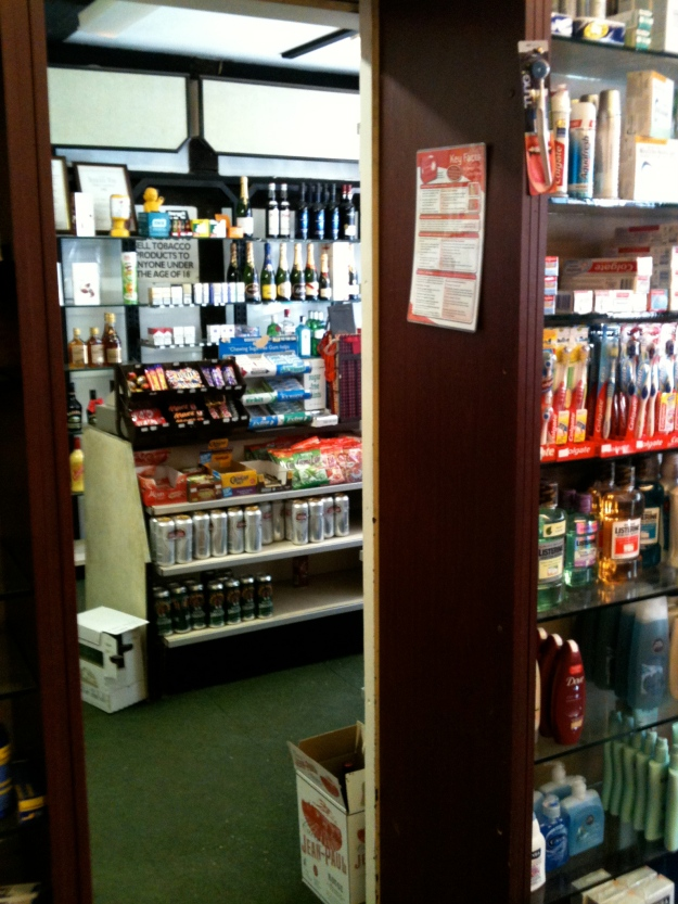 This chemist in Eton sells cigarettes and booze, 26.5.12.