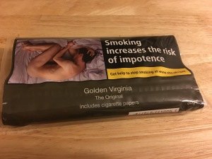 Plain cigarette packaging and larger sized packets are now with us (and a massive health warning). Golden Virginia hand-rolling tobacco in plain 30g packaging purchased from Waitrose 25/1/17.