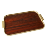 Kaymet Ribbed Tray with Rosewood base.  Made in England.