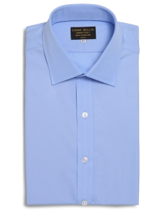 Emma Willis Sky Superior Cotton shirt. Made in England.