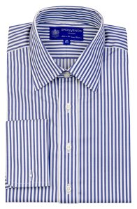 Grosvenor Classic Striped Shirt - Navy & White - M7031. Made in the United Kingdom.