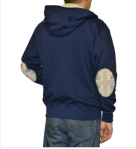 Josery J801 Men's Zip Hoodie with monochrome Union design sleeve patches. Made in Nottingham, England